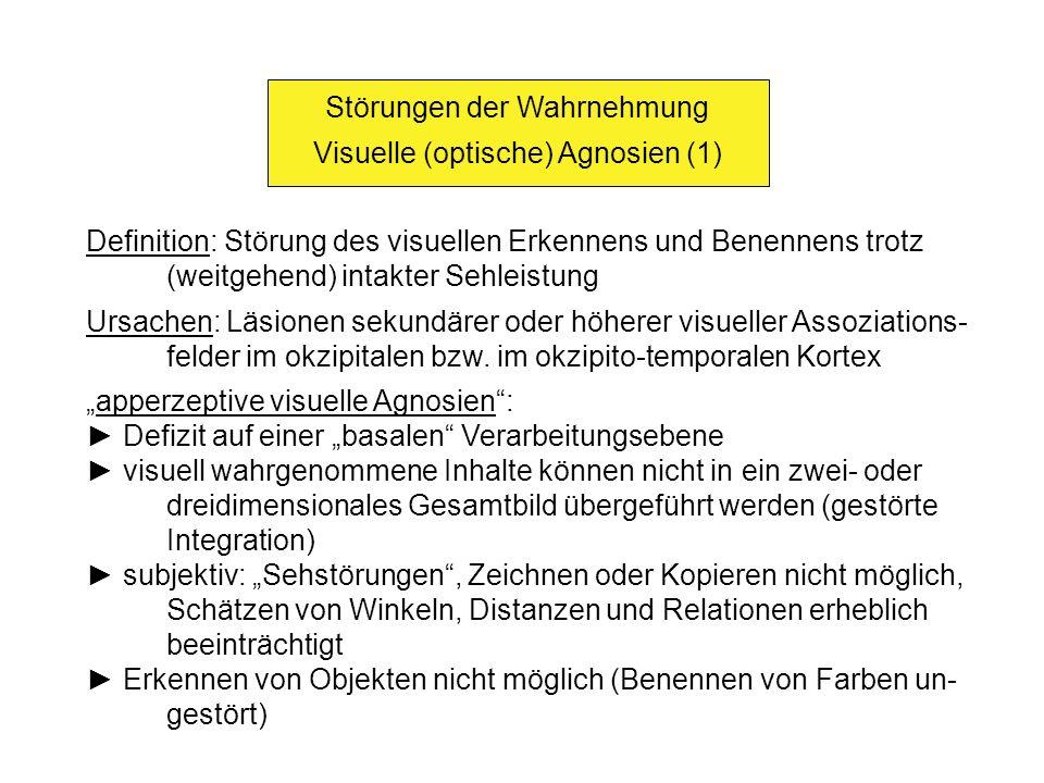Störungen der Wahrnehmung Visuelle (optische) Agnosien (1)