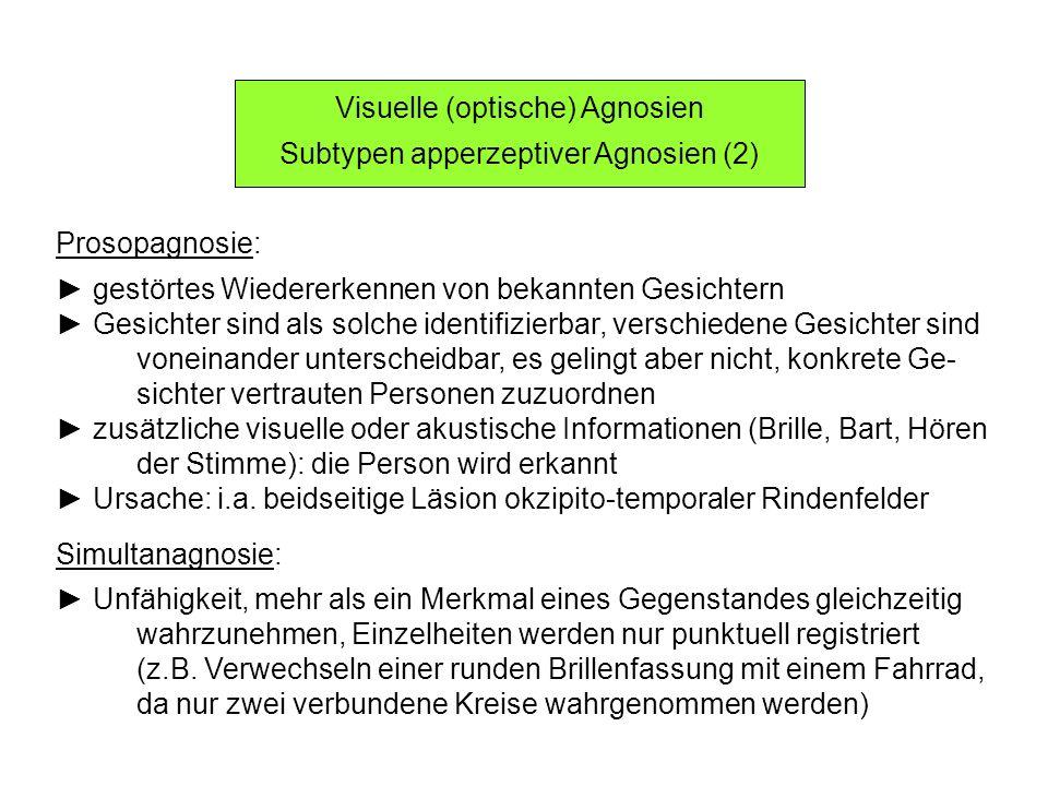 Visuelle (optische) Agnosien Subtypen apperzeptiver Agnosien (2)