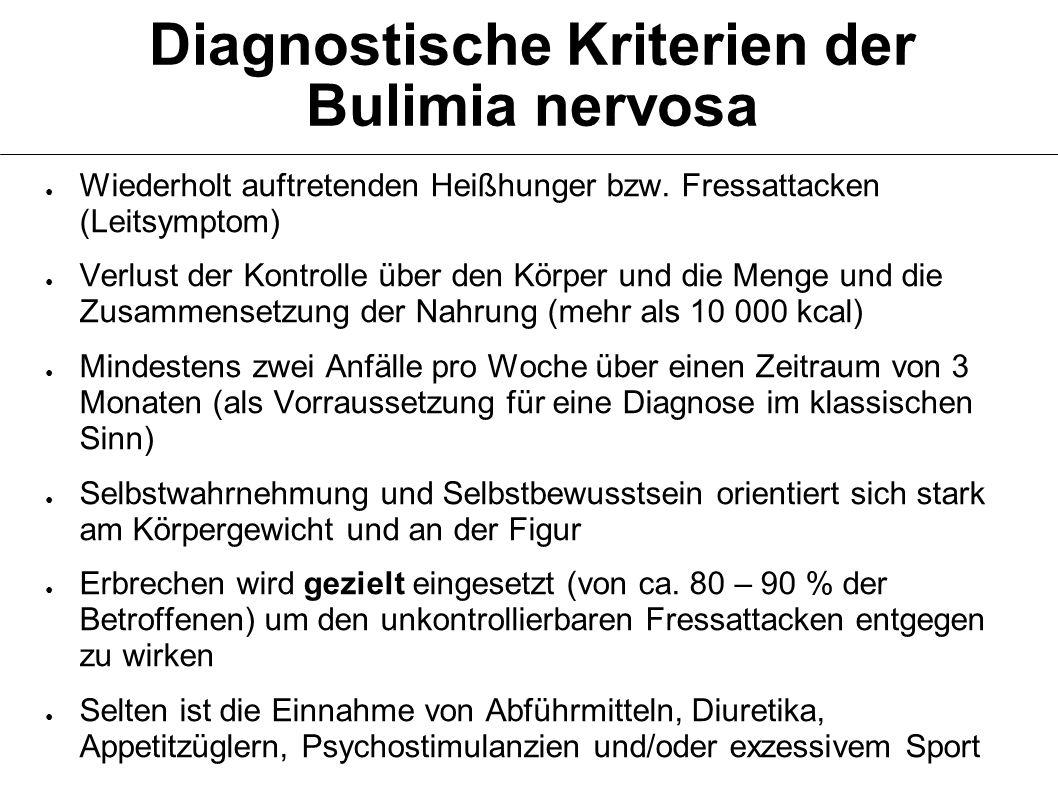Diagnostische Kriterien der Bulimia nervosa