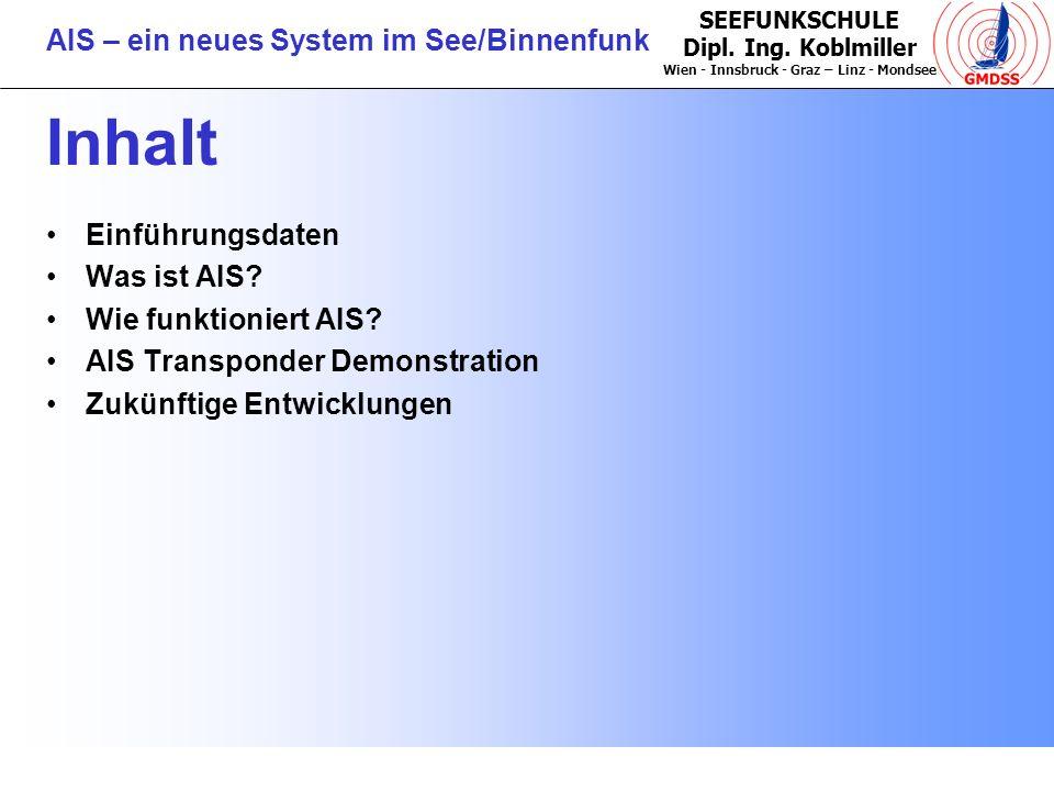 Inhalt Einführungsdaten Was ist AIS Wie funktioniert AIS