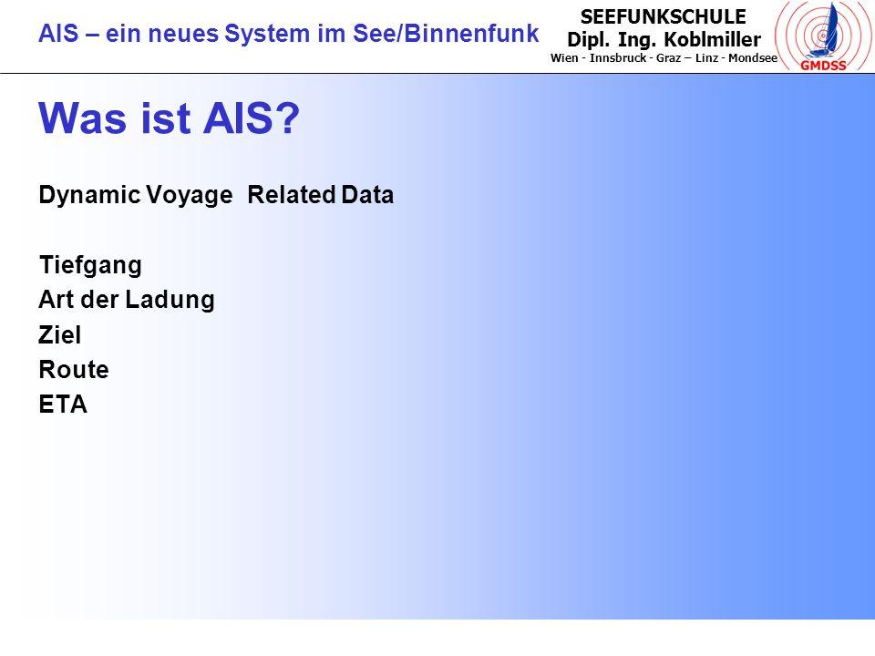 Was ist AIS Dynamic Voyage Related Data Tiefgang Art der Ladung Ziel