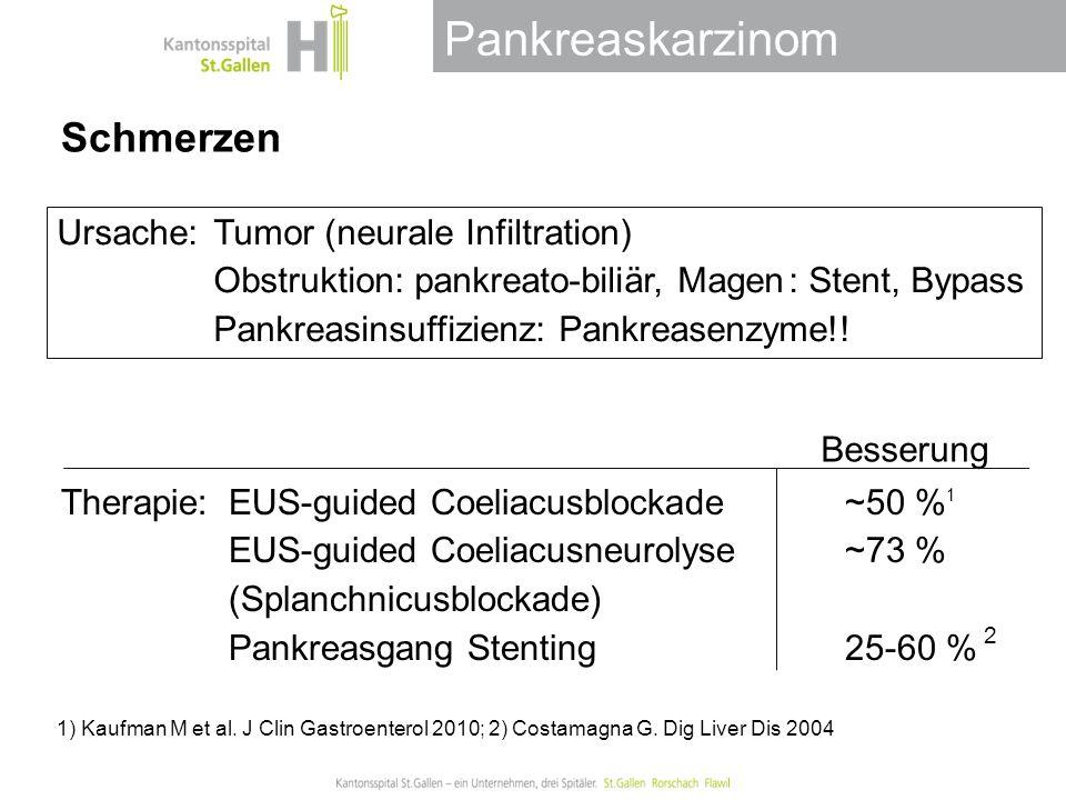 Schmerzen Ursache: Tumor (neurale Infiltration) Obstruktion: pankreato-biliär, Magen : Stent, Bypass Pankreasinsuffizienz: Pankreasenzyme!!
