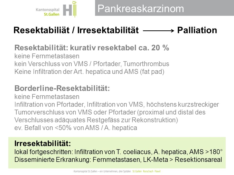 Resektabiliät / Irresektabilität Palliation