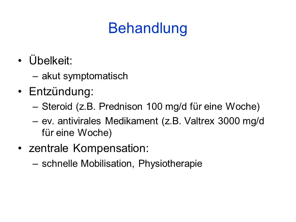 Behandlung Übelkeit: Entzündung: zentrale Kompensation: