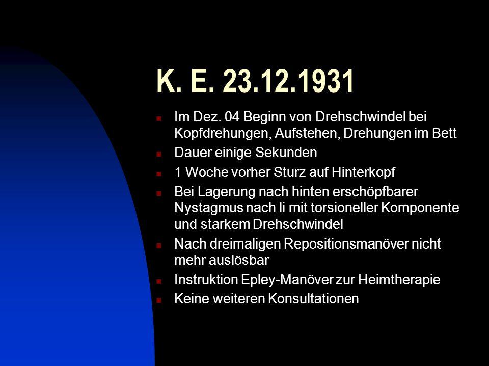 K. E. 23.12.1931 Im Dez. 04 Beginn von Drehschwindel bei Kopfdrehungen, Aufstehen, Drehungen im Bett.