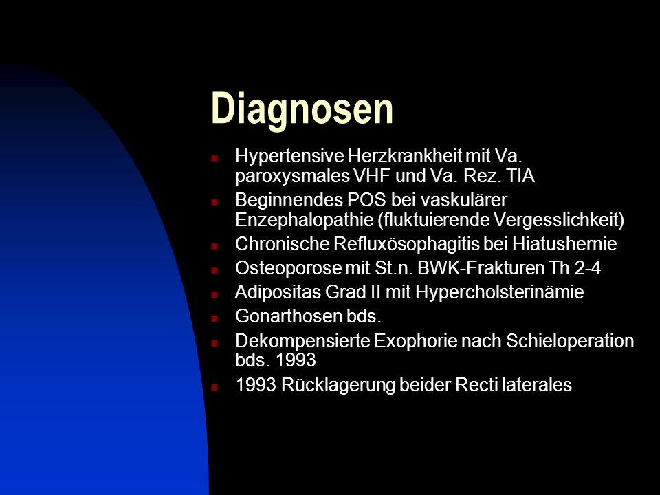 DiagnosenHypertensive Herzkrankheit mit Va. paroxysmales VHF und Va. Rez. TIA.