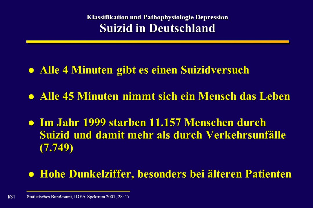 Klassifikation und Pathophysiologie Depression Suizid in Deutschland