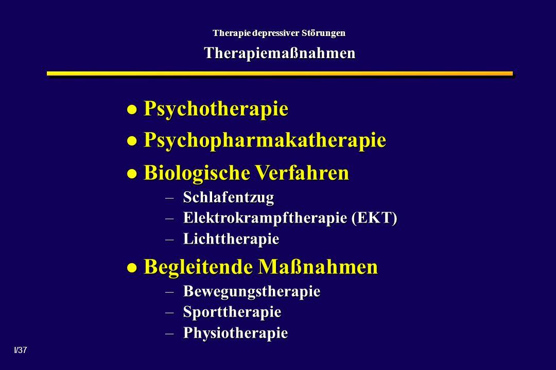 Therapie depressiver Störungen Therapiemaßnahmen