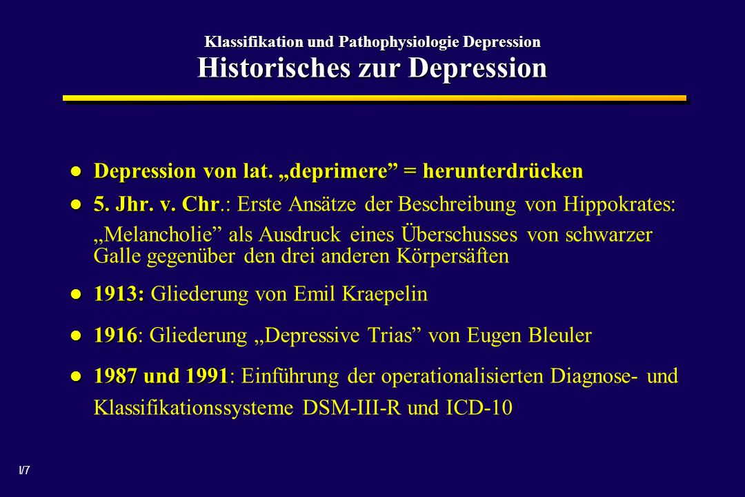 """Depression von lat. """"deprimere = herunterdrücken"""