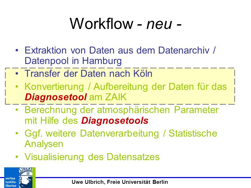 Workflow - neu - Extraktion von Daten aus dem Datenarchiv / Datenpool in Hamburg. Transfer der Daten nach Köln.