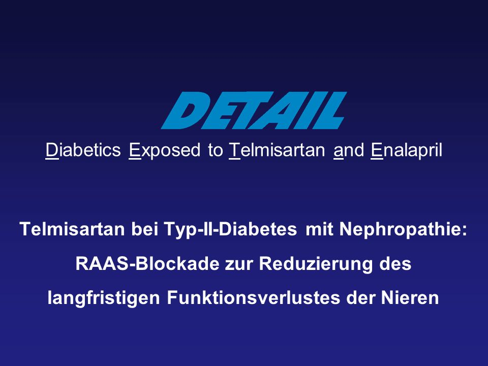 Diabetics Exposed to Telmisartan and Enalapril