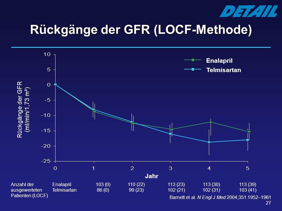 Rückgänge der GFR (LOCF-Methode)