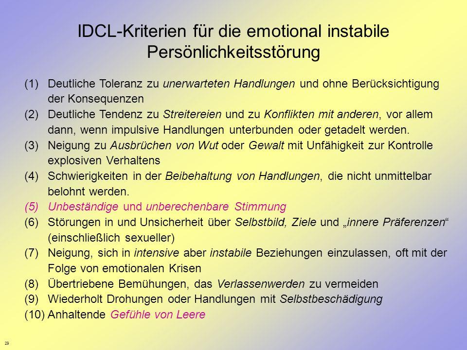 IDCL-Kriterien für die emotional instabile Persönlichkeitsstörung