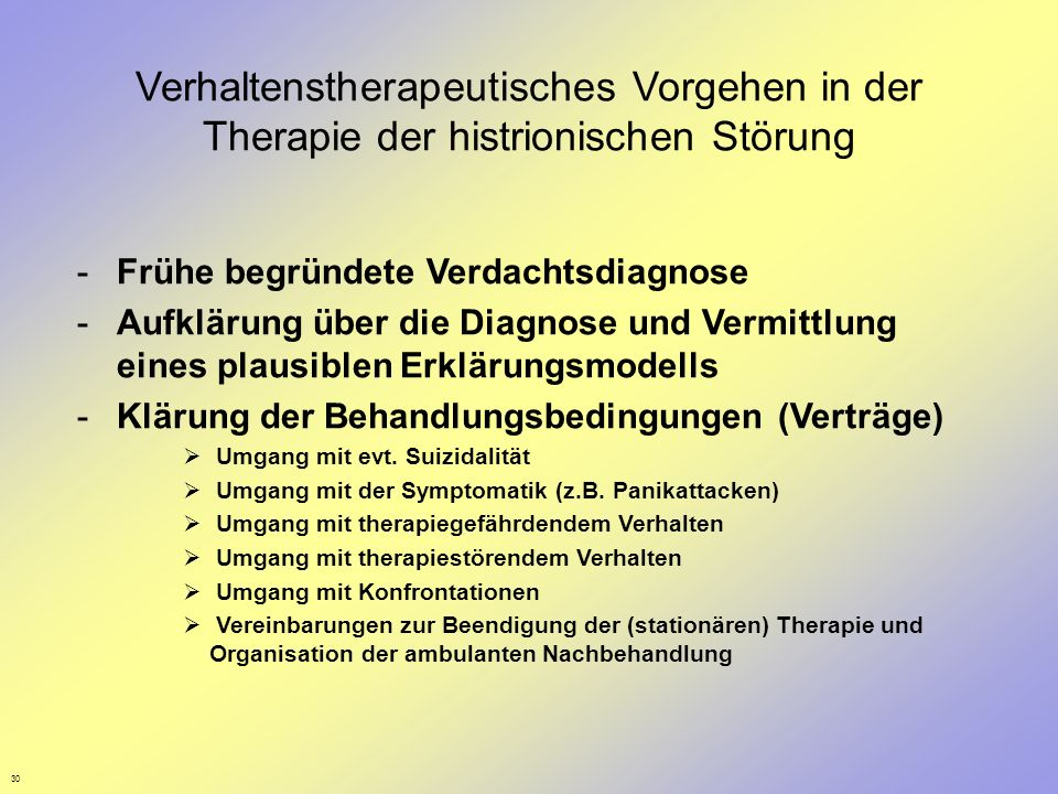 Verhaltenstherapeutisches Vorgehen in der Therapie der histrionischen Störung