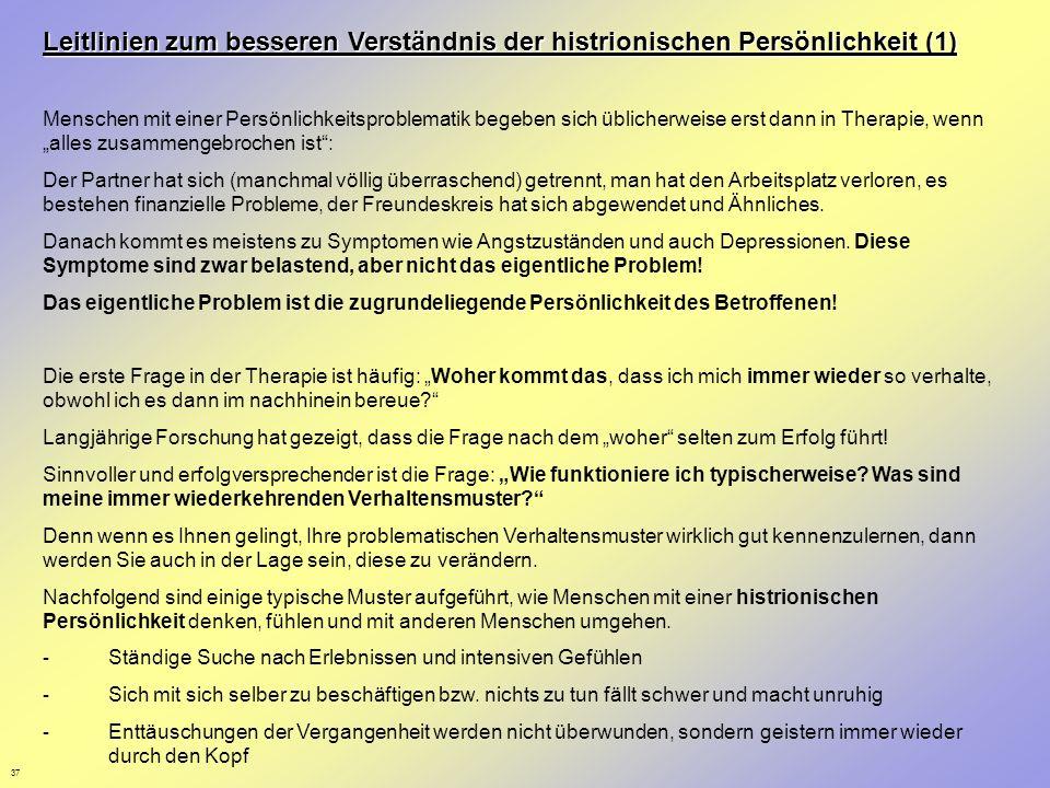 Leitlinien zum besseren Verständnis der histrionischen Persönlichkeit (1)
