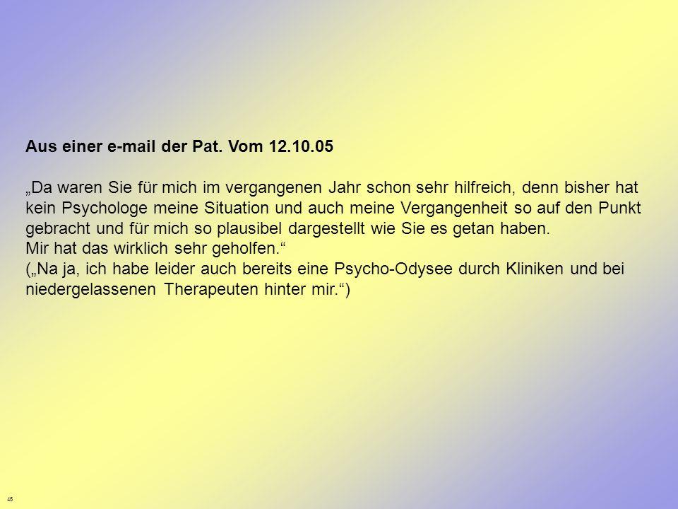 Aus einer e-mail der Pat. Vom 12.10.05