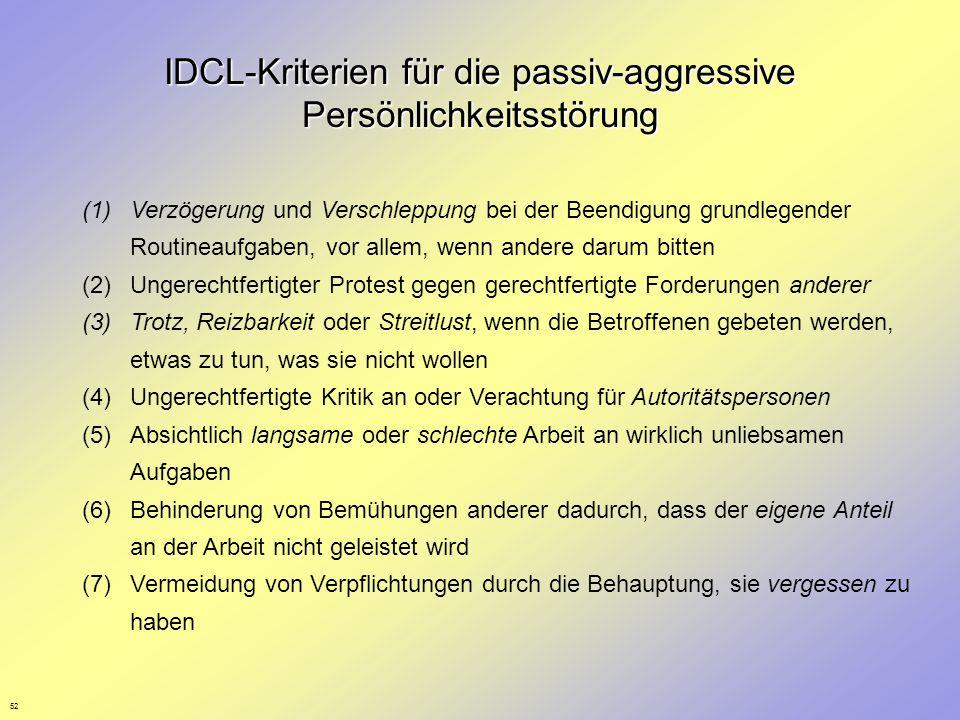 IDCL-Kriterien für die passiv-aggressive Persönlichkeitsstörung