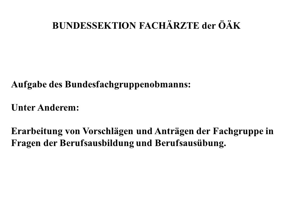 BUNDESSEKTION FACHÄRZTE der ÖÄK