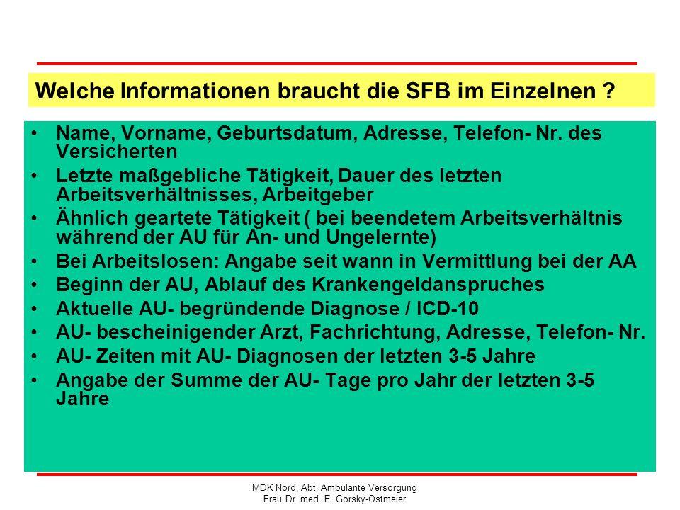 Welche Informationen braucht die SFB im Einzelnen