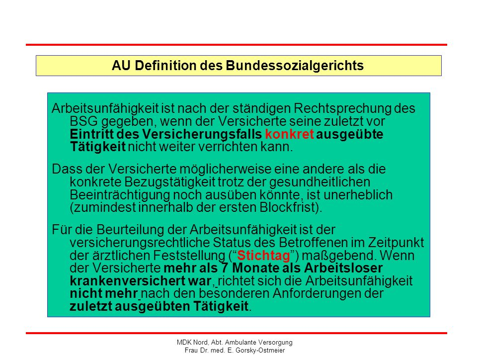 AU Definition des Bundessozialgerichts