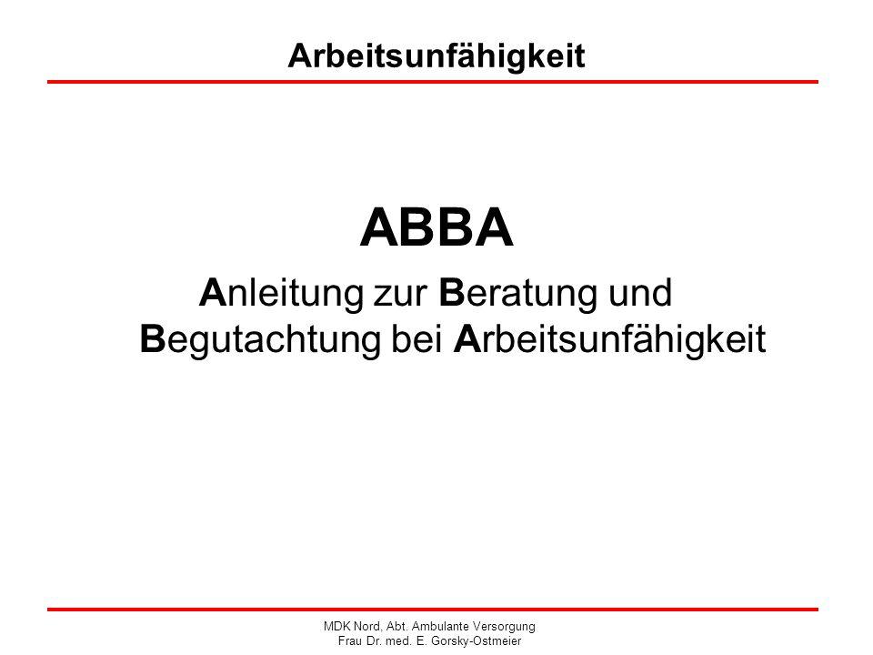 ABBA Anleitung zur Beratung und Begutachtung bei Arbeitsunfähigkeit