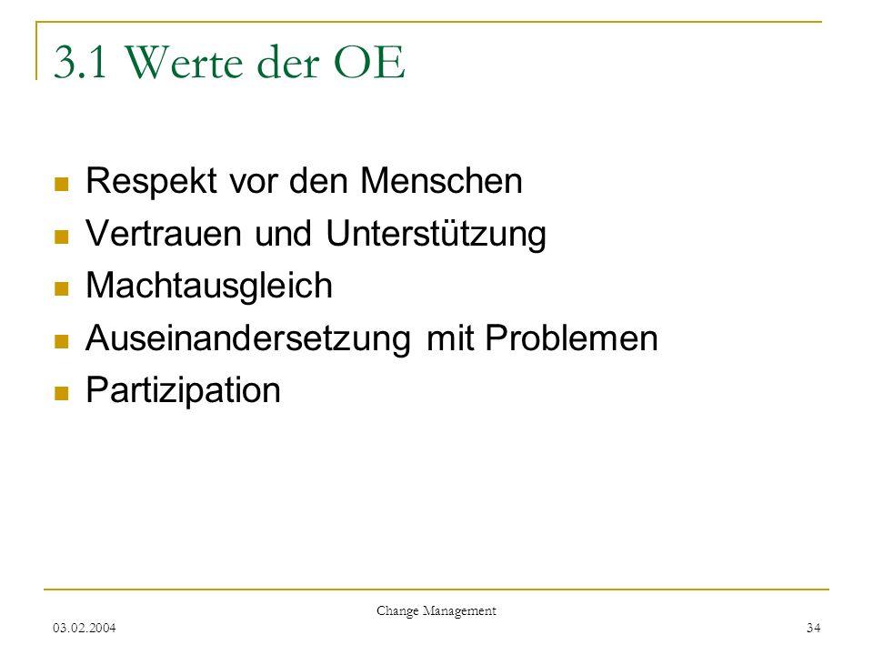 3.1 Werte der OE Respekt vor den Menschen Vertrauen und Unterstützung