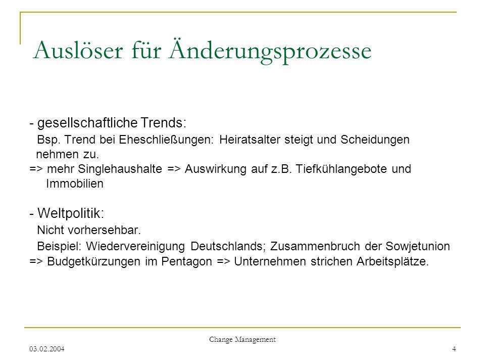 Auslöser für Änderungsprozesse - gesellschaftliche Trends: Bsp