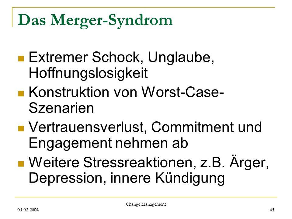 Das Merger-Syndrom Extremer Schock, Unglaube, Hoffnungslosigkeit