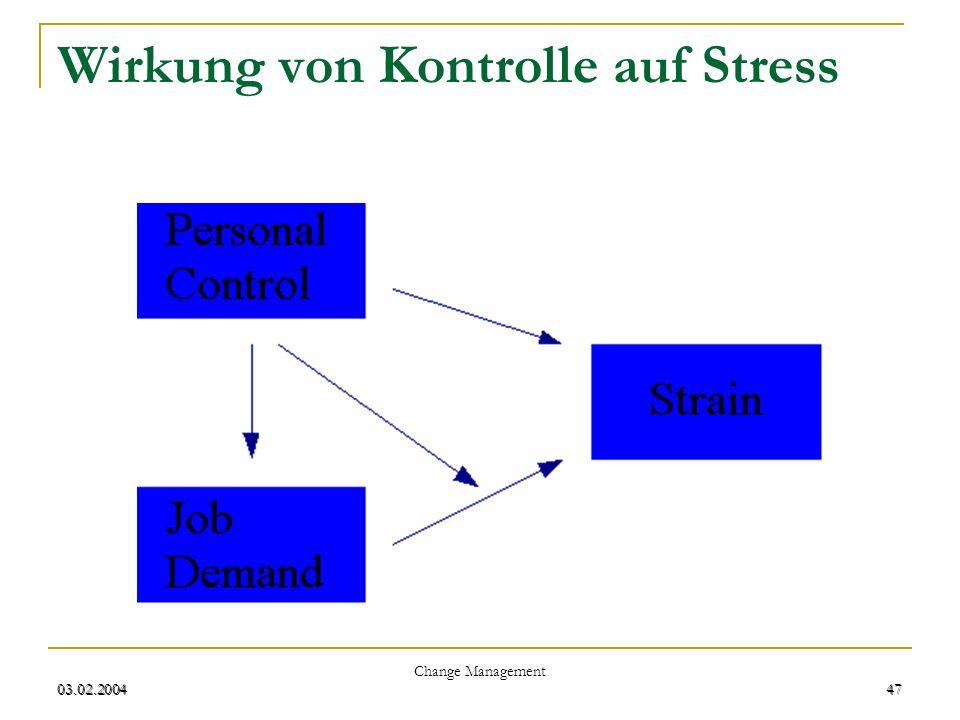 Wirkung von Kontrolle auf Stress