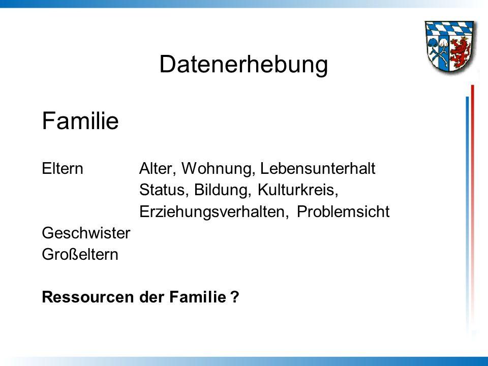 Datenerhebung Familie Eltern Alter, Wohnung, Lebensunterhalt