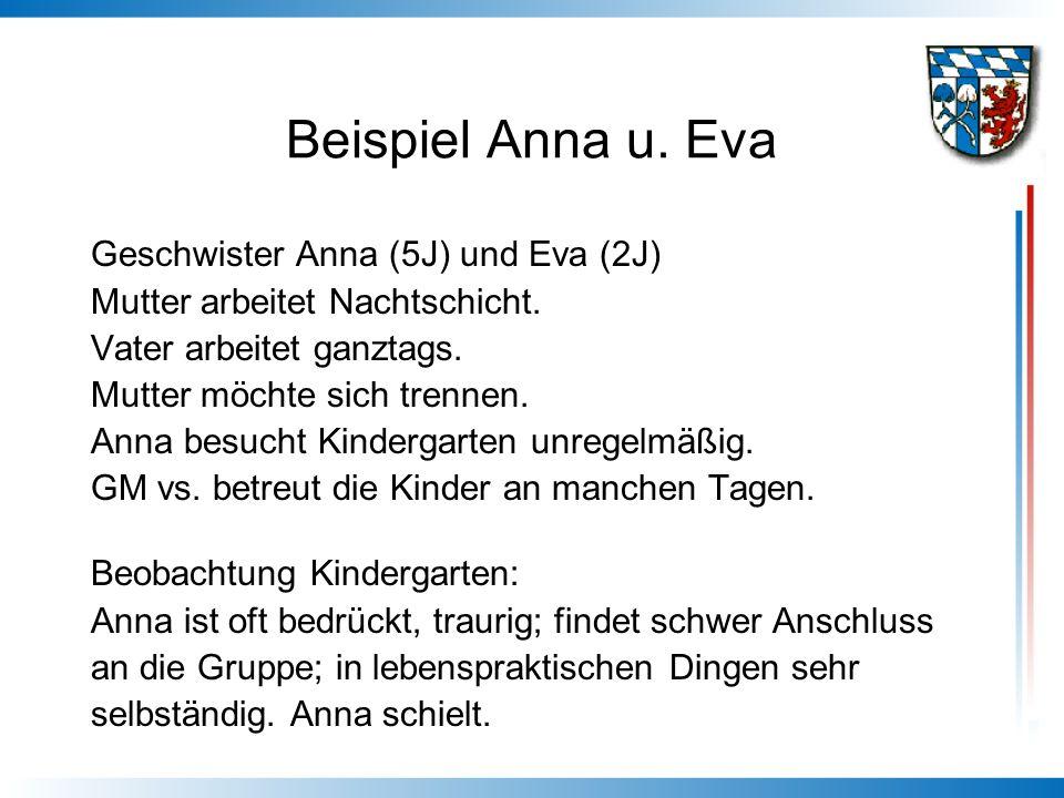 Beispiel Anna u. Eva Geschwister Anna (5J) und Eva (2J)