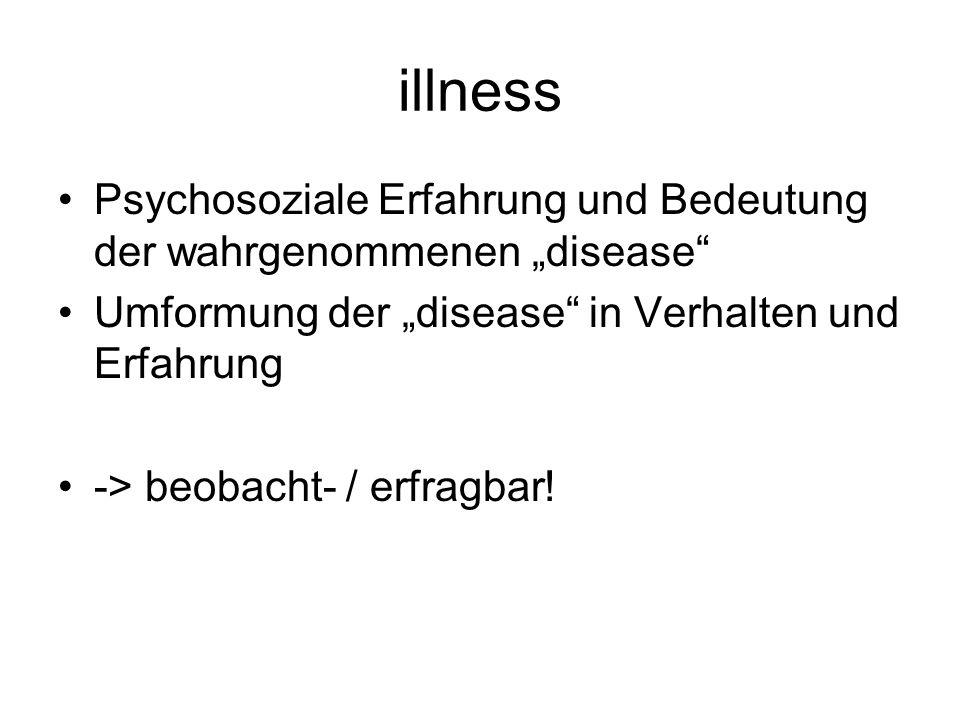 """illness Psychosoziale Erfahrung und Bedeutung der wahrgenommenen """"disease Umformung der """"disease in Verhalten und Erfahrung."""