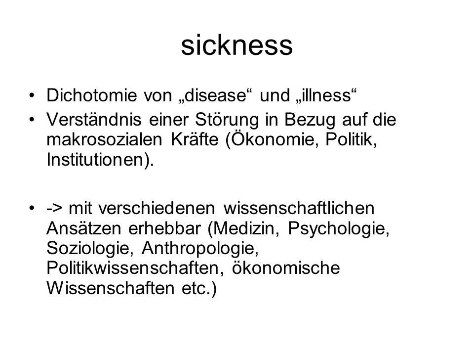 """sickness Dichotomie von """"disease und """"illness"""