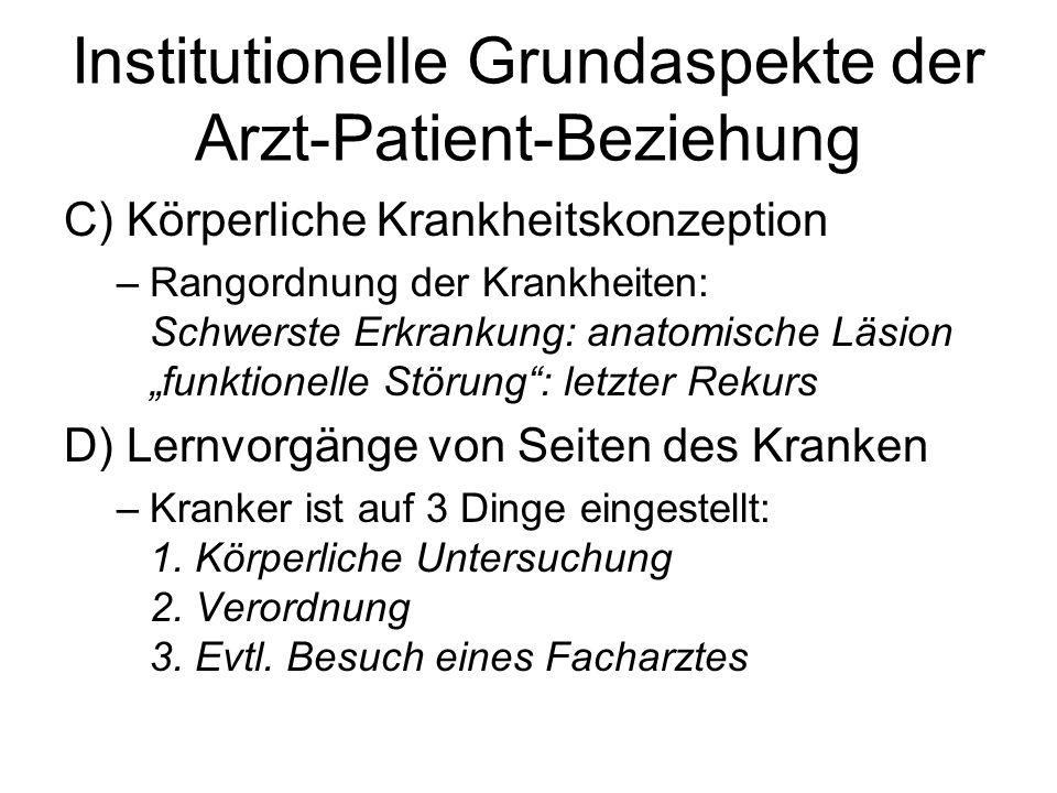 Institutionelle Grundaspekte der Arzt-Patient-Beziehung