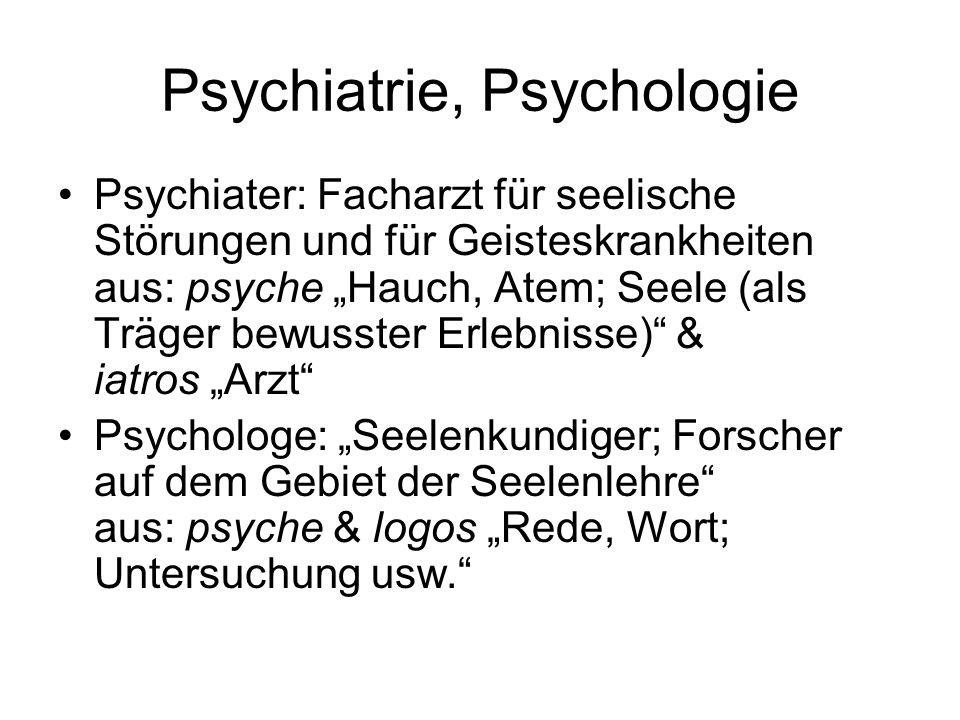 Psychiatrie, Psychologie