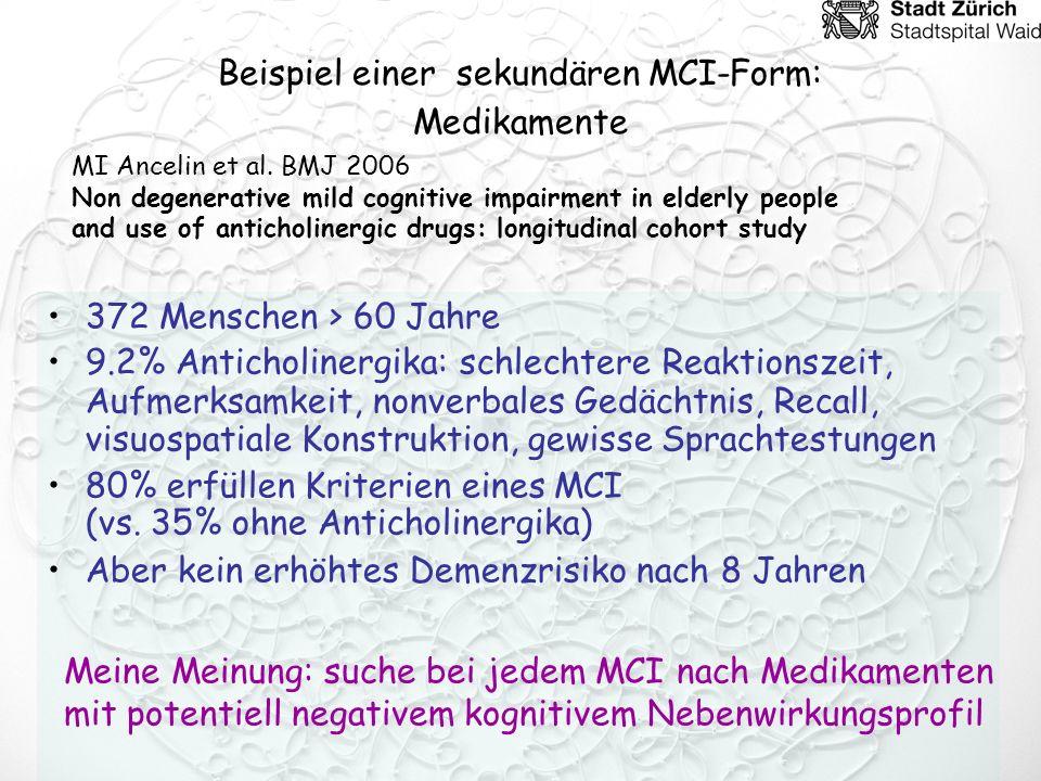 Beispiel einer sekundären MCI-Form: Medikamente