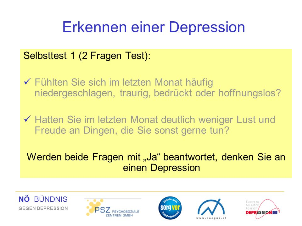 Erkennen einer Depression