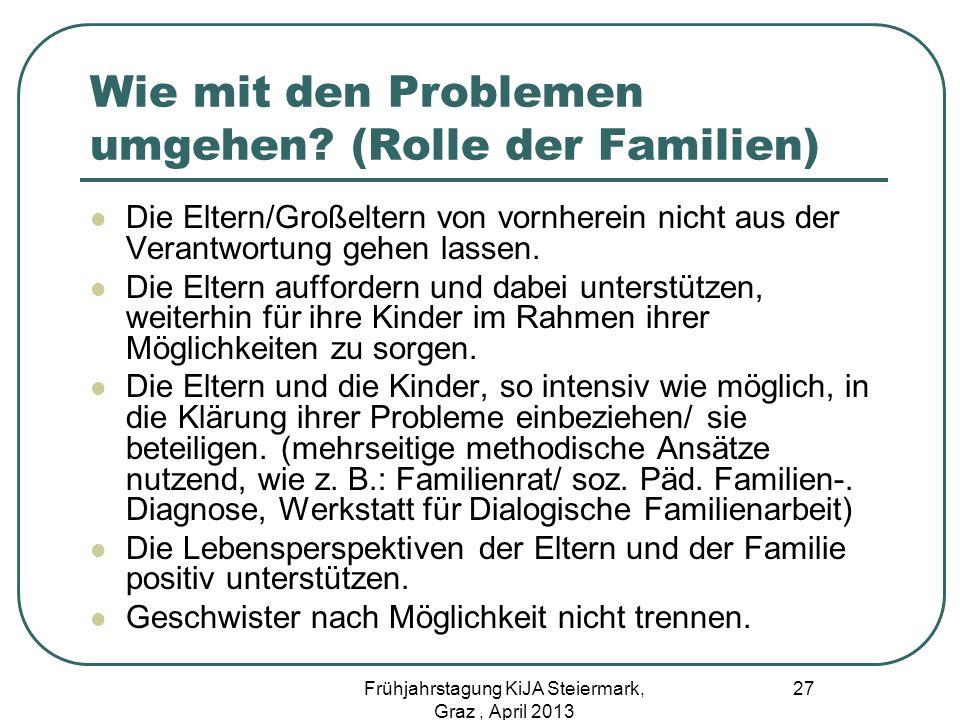 Wie mit den Problemen umgehen (Rolle der Familien)