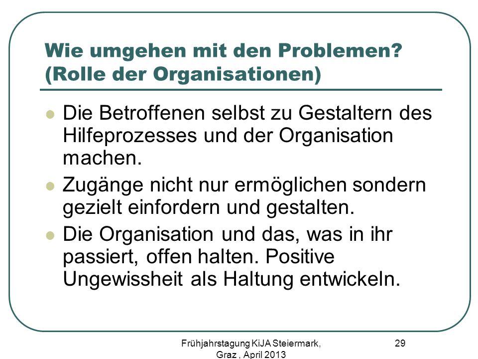 Wie umgehen mit den Problemen (Rolle der Organisationen)