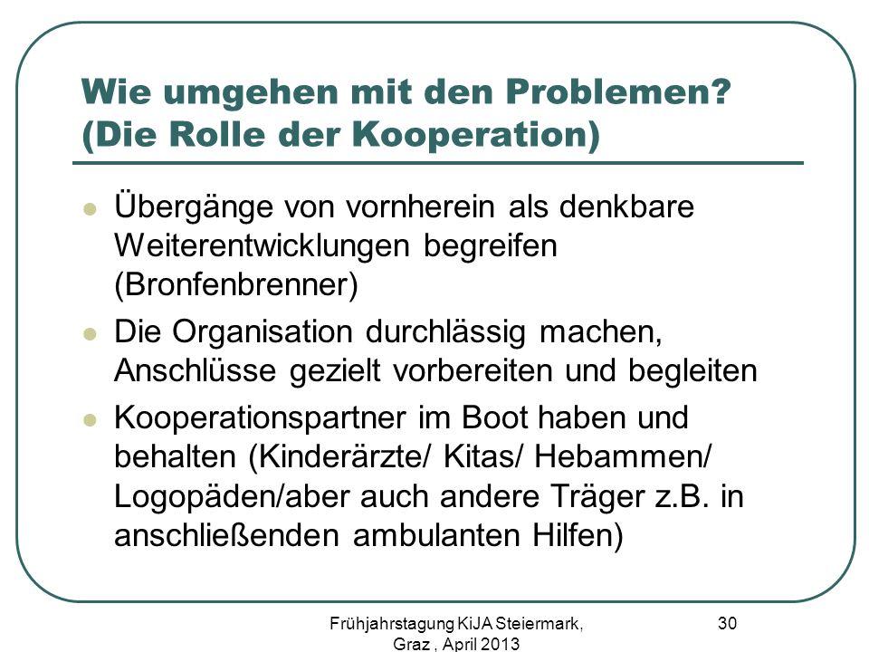 Wie umgehen mit den Problemen (Die Rolle der Kooperation)