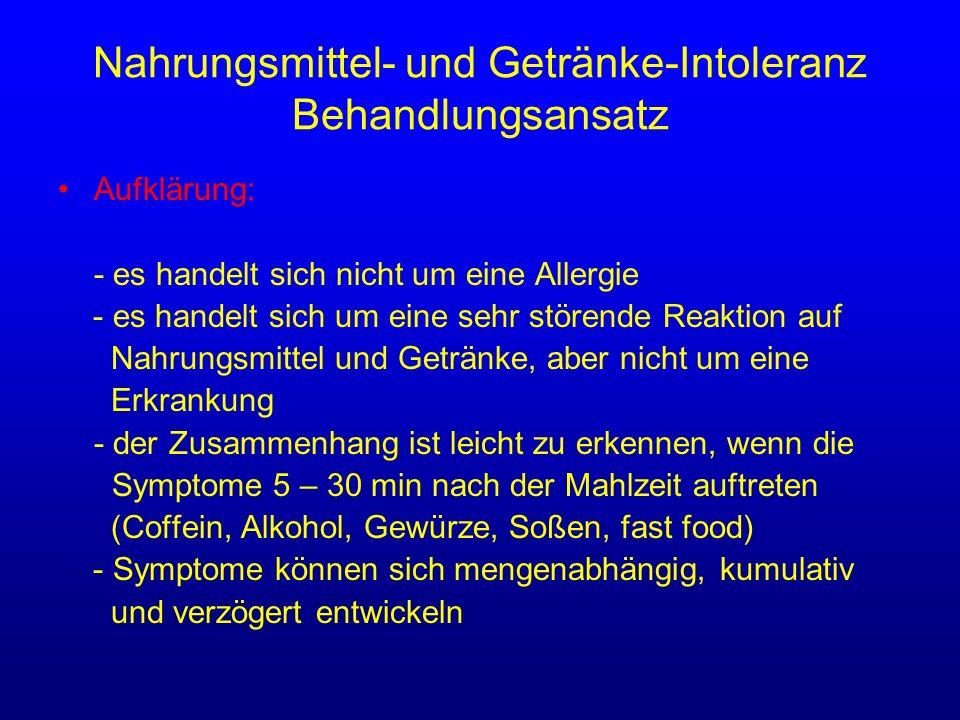 Nahrungsmittel- und Getränke-Intoleranz Behandlungsansatz