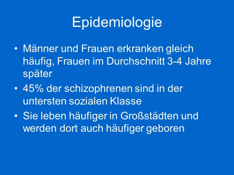 Epidemiologie Männer und Frauen erkranken gleich häufig, Frauen im Durchschnitt 3-4 Jahre später.