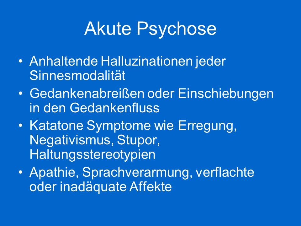 Akute Psychose Anhaltende Halluzinationen jeder Sinnesmodalität