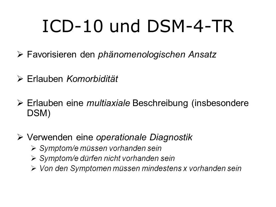 ICD-10 und DSM-4-TR Favorisieren den phänomenologischen Ansatz