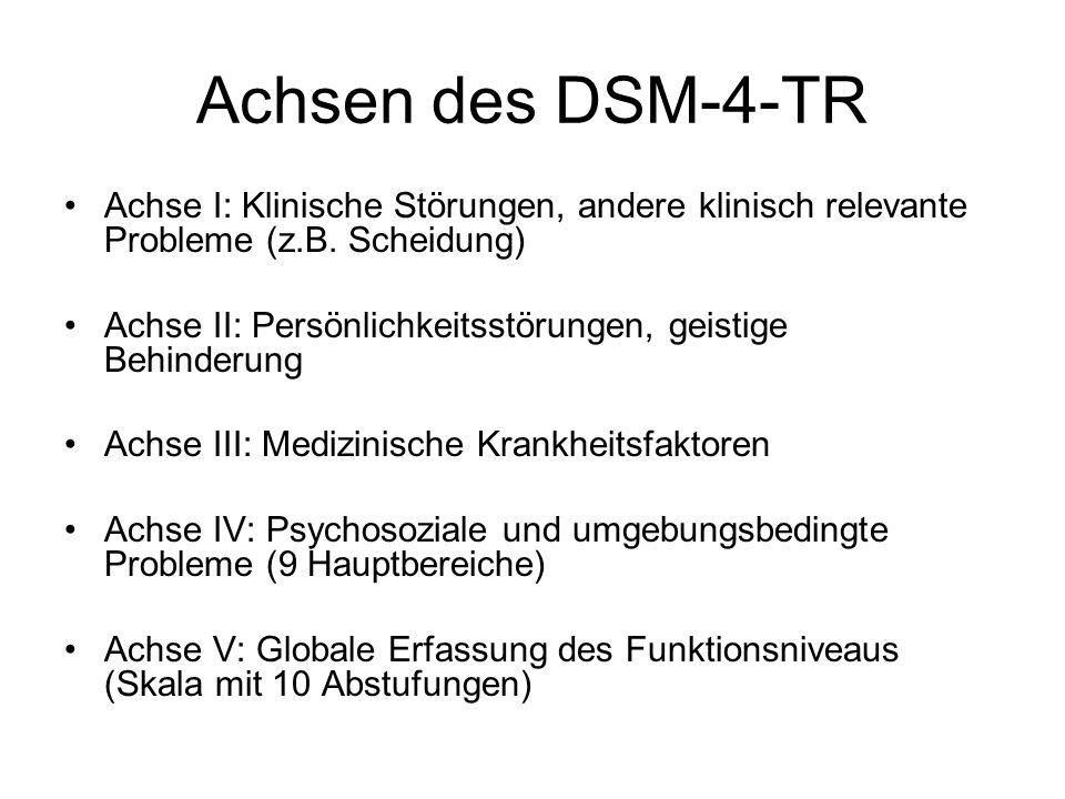 Achsen des DSM-4-TR Achse I: Klinische Störungen, andere klinisch relevante Probleme (z.B. Scheidung)