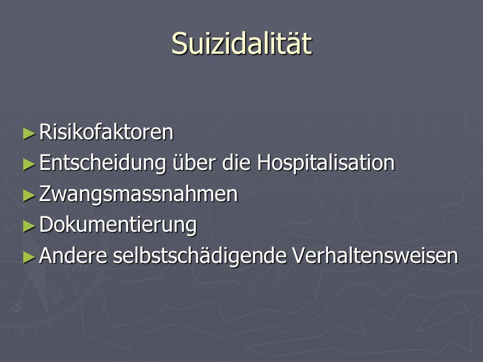 Suizidalität Risikofaktoren Entscheidung über die Hospitalisation