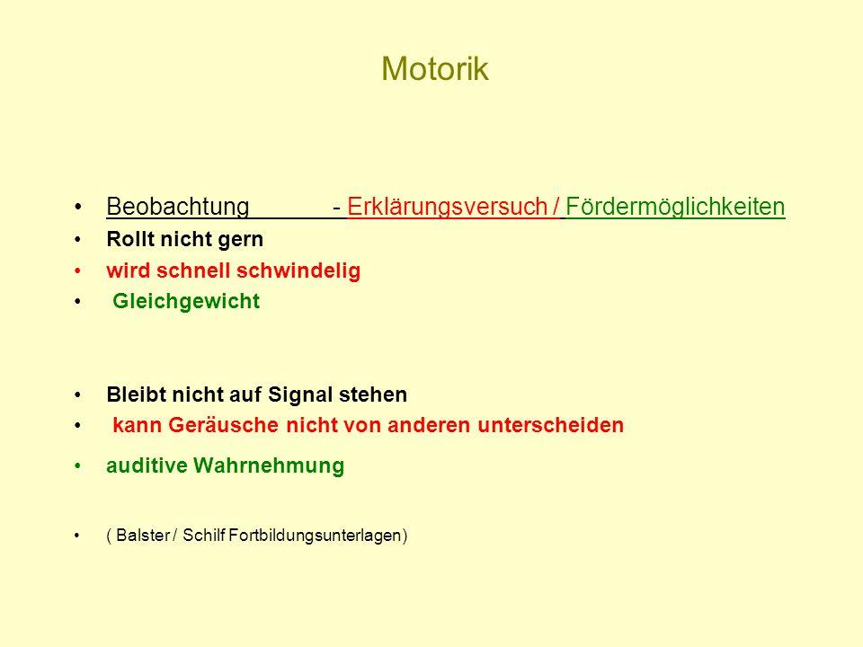 Motorik Beobachtung - Erklärungsversuch / Fördermöglichkeiten