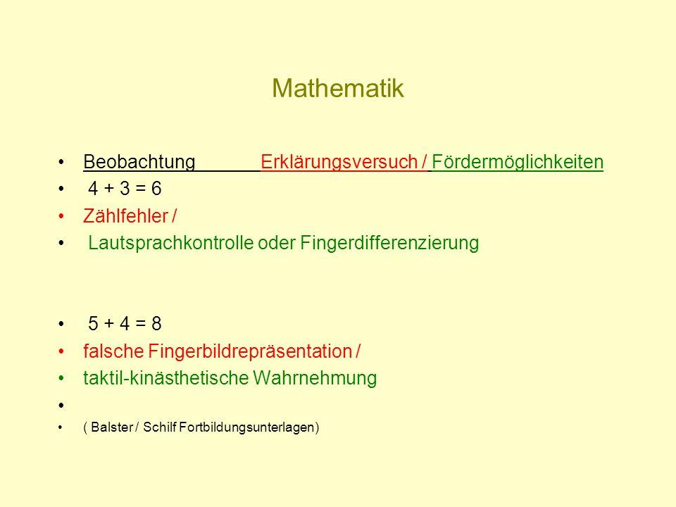 Mathematik Beobachtung Erklärungsversuch / Fördermöglichkeiten