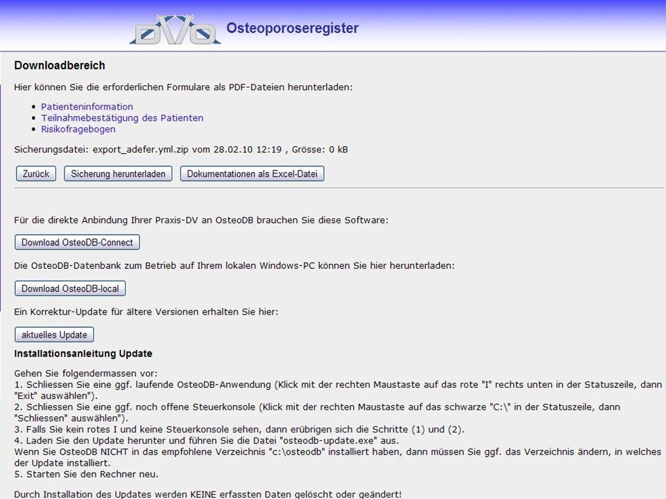 Im Downloadbereich befinden sich die bereits beschriebenen pdf-Dokumente sowie die Offlineversion der Datenbank zur Installation auf dem lokalen Rechner.