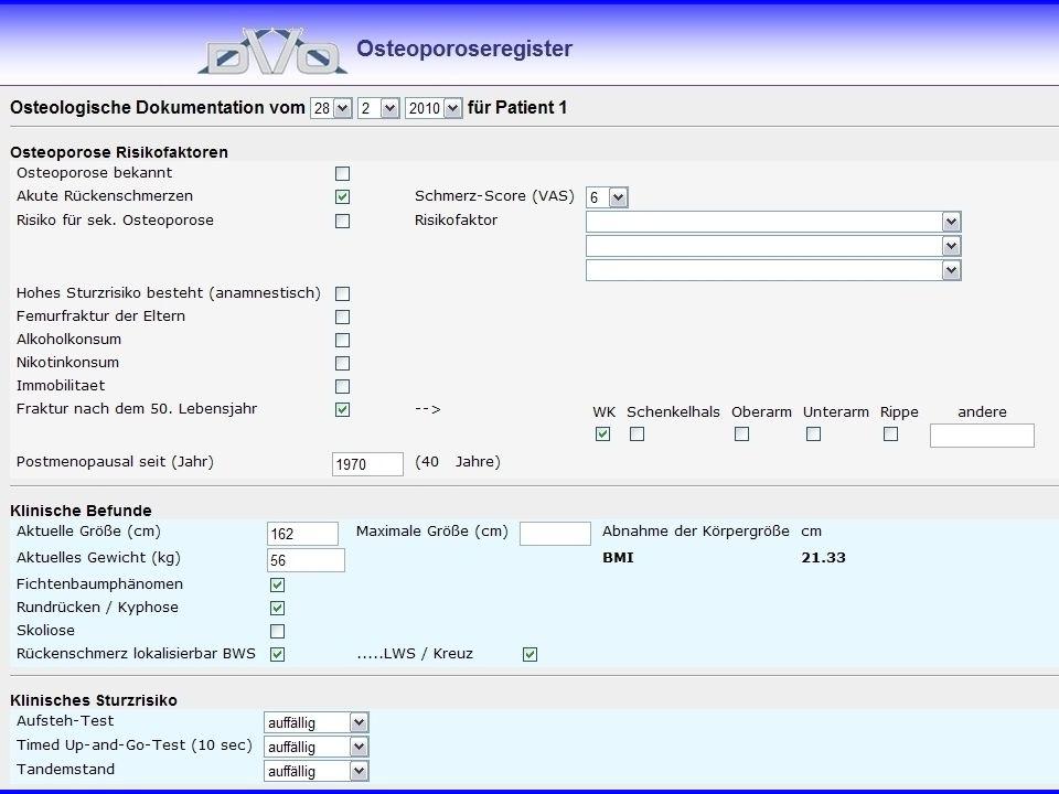 Die Dateneingabe in der Dokumentation erfolgt zum größten Teil über JA/Nein Felder bzw. über Auswahl aus einem Drop- Down- Menü.
